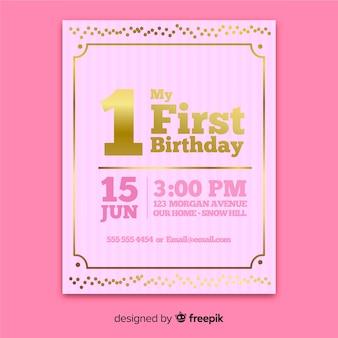 Moderne eerste verjaardagsuitnodiging