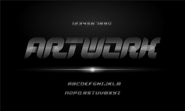 Moderne elegante alfabet lettertype. typografie stedelijke stijl lettertypen voor technologie, digitaal, film