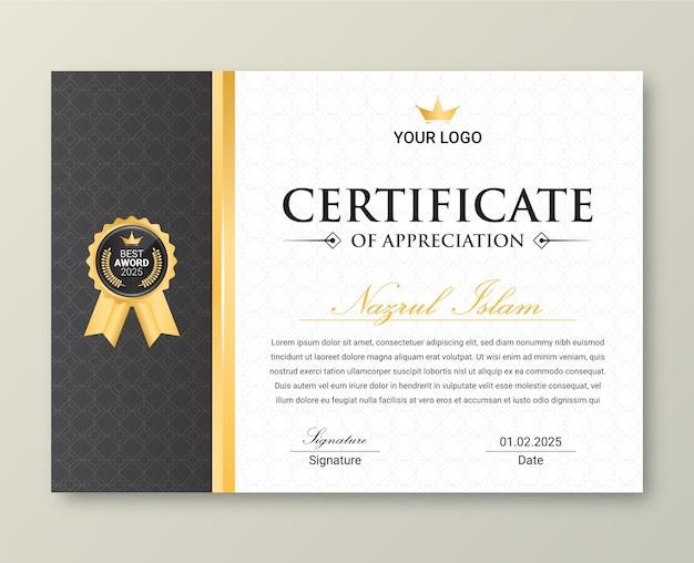 Moderne elegante gouden certificaatsjabloon met badge.