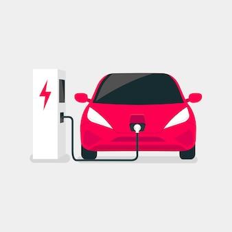 Moderne elektrische auto laadt op een elektrisch voertuig ev laadstation punt.
