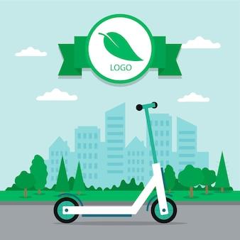 Moderne elektrische scooter op de stadslandschap achtergrond