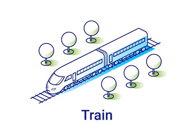 Moderne elektrische treinillustratie in lineaire isometrische stijl. minimal art lijn.