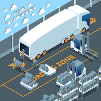 Moderne elektrische vrachtwagen isometrische samenstelling