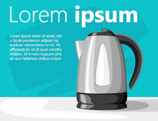 Moderne elektrische waterkoker op grijze tafel zwart plastic en roestvrij staal met plaats voor uw tekst illustratie op turkooizen achtergrond