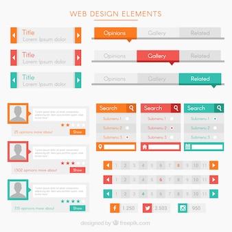 Moderne elementen en knoppen voor website