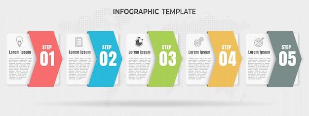 Moderne elementen infographic, tijdlijn 5 opties.