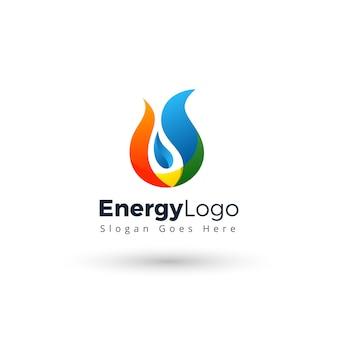 Moderne en creatieve vlam olie logo ontwerpsjabloon