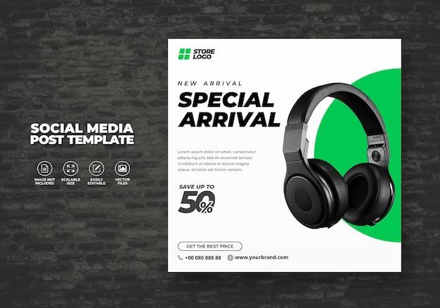 Moderne en elegant wit groene kleur draadloze hoofdtelefoon voor sociale media sjabloon banner vector