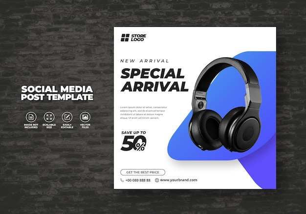 Moderne en elegante wit paarse kleur draadloze hoofdtelefoon voor sociale media sjabloon banner vector