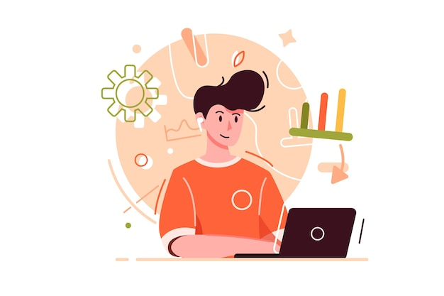 Moderne en jonge kerel die op internet werkt met behulp van een laptop, met emoties en deeg, geïsoleerd