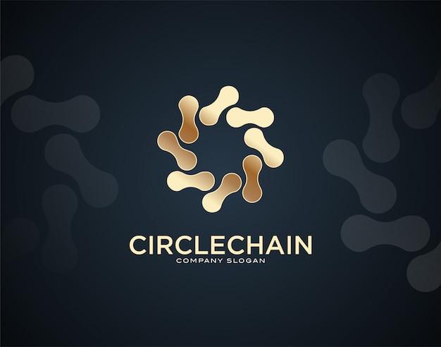 Moderne en luxe cirkel ketting ontwerpsjabloon logo met gouden kleureffecten