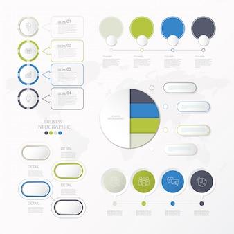 Moderne en standaard cirkels infographics instellen voor huidige bedrijfsconcept.