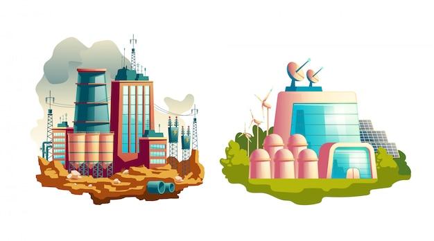 Moderne en toekomstige cartoon van krachtcentrales