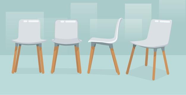 Moderne enkele stoel vier weergaven