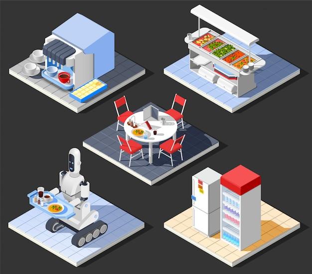 Moderne fast-food cafe samenstelling