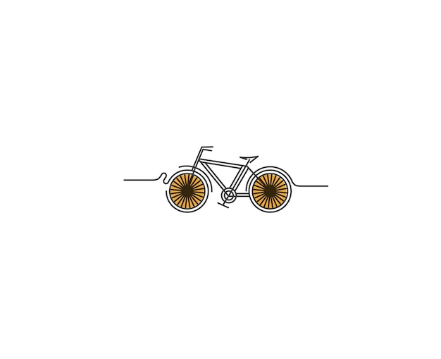 Moderne fietsen flat line art tekening, vectorillustratie.