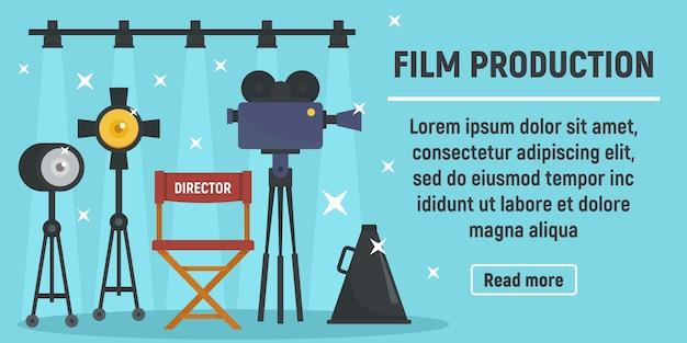 Moderne filmproductie banner, vlakke stijl