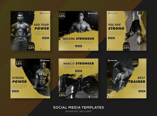 Moderne fitness set banners sjabloon