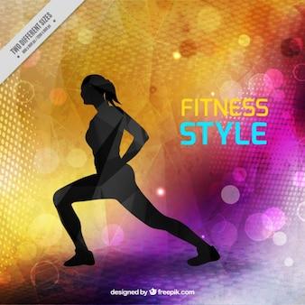 Moderne fitness stijl achtergrond met vrouw silhouet