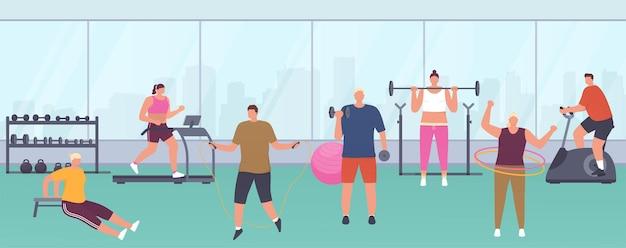 Moderne fitnessruimte met panoramische ramen, sportuitrusting, fitnessapparaten voor dames en heren. mensen doen verschillende oefeningen in de sportschool om een gezonde levensstijl te behouden.