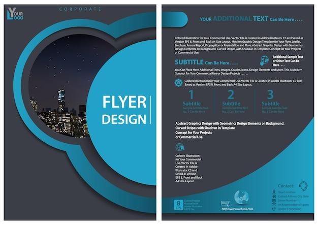 Moderne foldersjabloon met geometrisch ontwerp in blauwe tinten