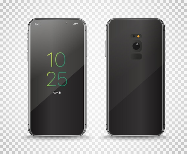 Moderne frameloze smartphone geïsoleerd op transparante achtergrond.