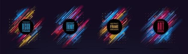 Moderne frames met dynamische neon gloeiende lijnen geïsoleerd op zwarte achtergrond