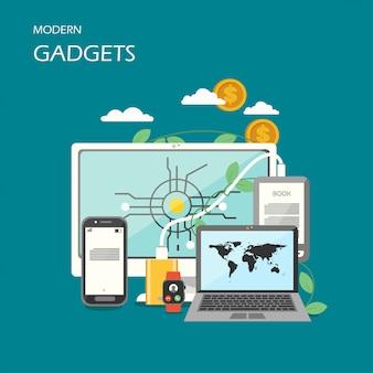 Moderne gadgets vector vlakke stijl ontwerp illustratie