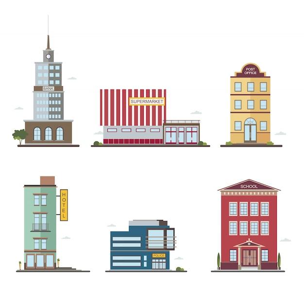 Moderne gebouwen in verschillende architecturale stijlen. architectuurconstructiebank, hotel, supermarkt, postkantoor en politie