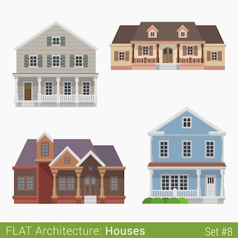 Moderne gebouwen platteland voorstad herenhuis cottage blokhut huizen set stadselementen stijlvolle architectuur onroerend goed collectie