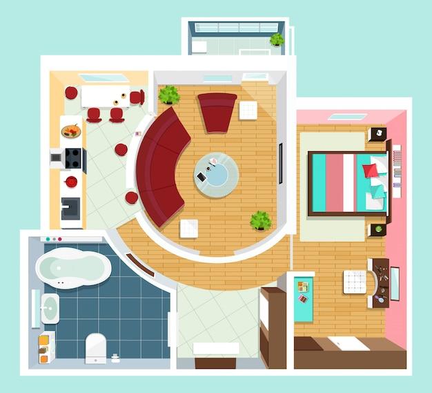Moderne gedetailleerde plattegrond voor appartement met meubilair. bovenaanzicht van appartement. vector platte projectie.