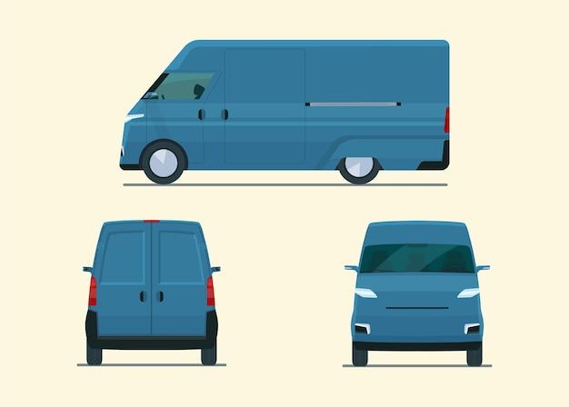 Moderne geïsoleerde bestelwagenauto. ð¡argo bestelwagen met zijaanzicht, achteraanzicht en vooraanzicht. vlakke stijl illustratie.