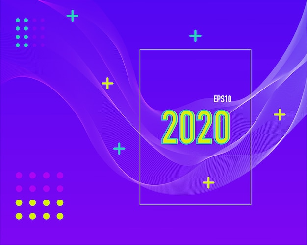 Moderne gekleurde 2020-lijnachtergrond.