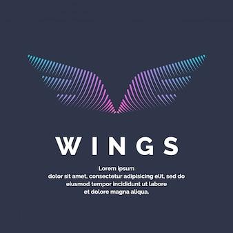 Moderne gekleurde vleugels in een futuristische stijl. vectorillustratie op een donkere achtergrond voor reclame