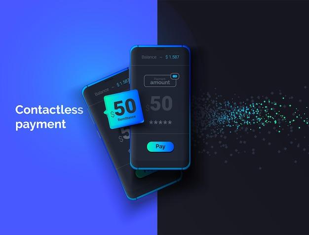 Moderne geldoverdrachten contactloze betaling 3d-afbeelding