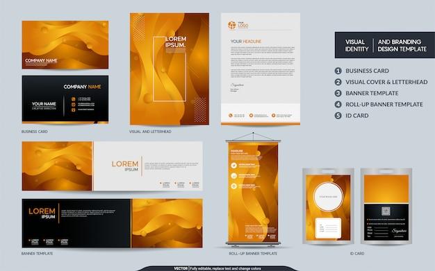 Moderne gele kantoorbehoeftenreeks en visuele merkidentiteit met abstracte kleurrijke dynamische vorm als achtergrond.