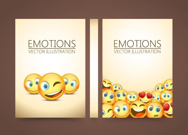 Moderne gele lachende drie emoji, emoties achtergrond, vectorillustratie