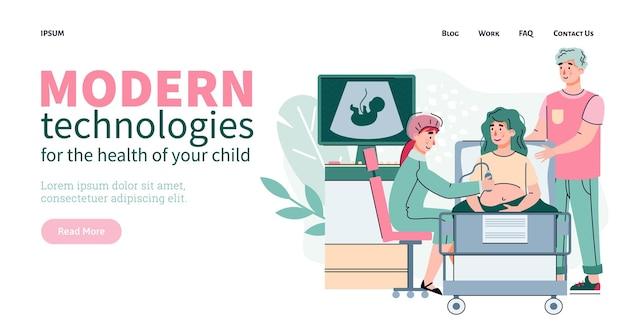 Moderne geneeskundetechnologieën voor de platte vectorillustratie van de website van de kindgezondheid