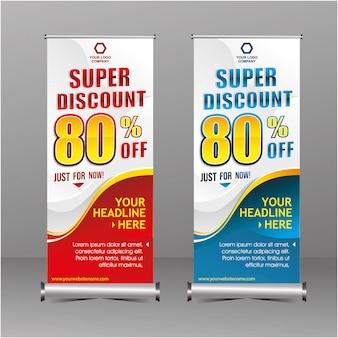 Moderne geometrie rollup staande banner sjabloon super speciale aanbieding verkoop korting