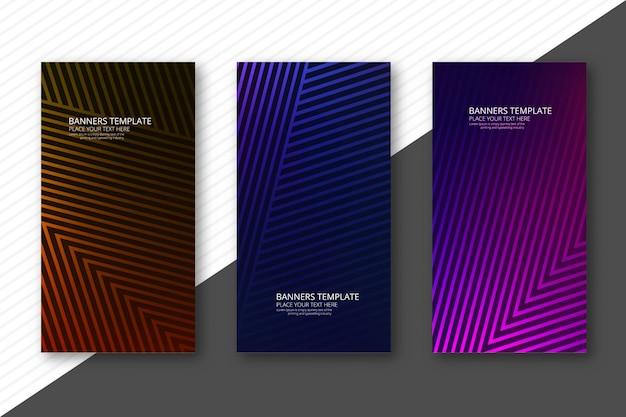 Moderne geometrische banners van het lijnen kleurrijke malplaatje geplaatst ontwerp