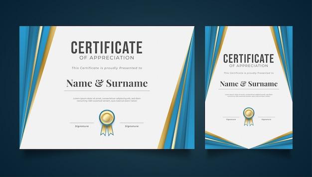 Moderne geometrische certificaatsjabloon met papier gesneden stijl