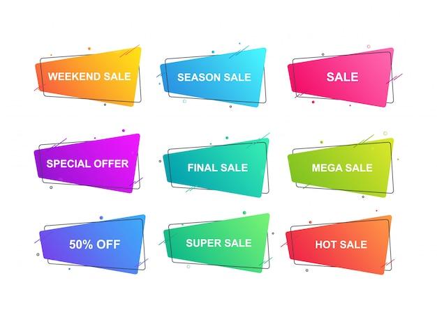 Moderne geometrische labels voor verkoop, promotie, kortingen ingesteld.