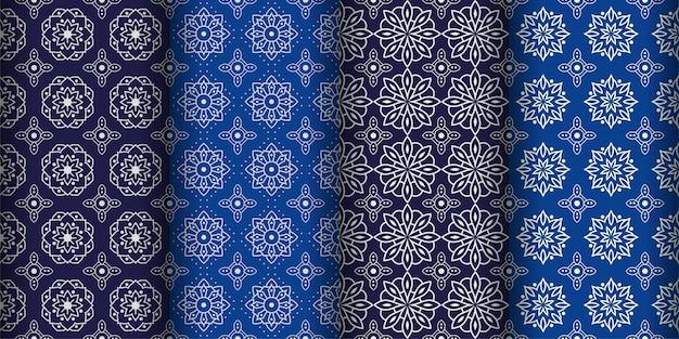 Moderne geometrische naadloze patroon achtergrond. klassiek batikbehang. set