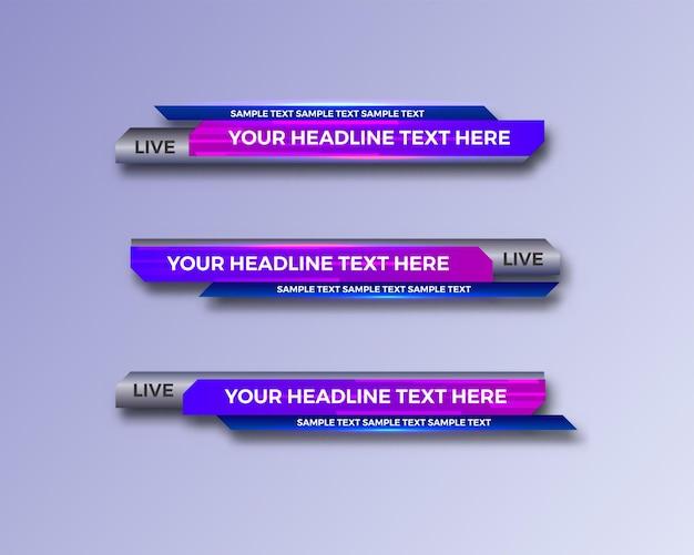 Moderne geometrische onderste derde banner-interfacesjabloon voor tv Premium Vector