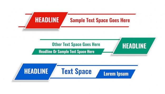 Moderne geometrische onderste derde banners in drie kleuren