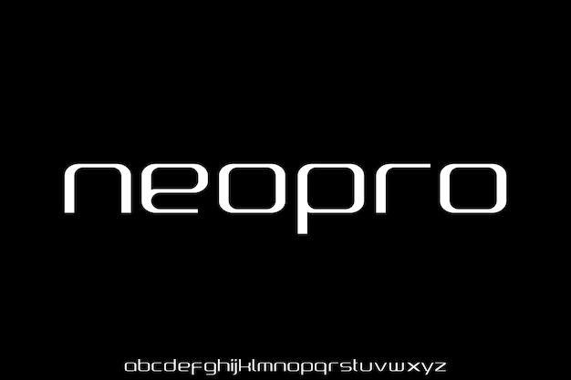 Moderne geometrische sans serif futuristische lettertype alfabet set