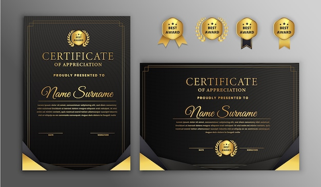 Moderne geometrische vorm certificaatsjablonen met badges