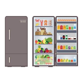 Moderne gesloten en geopende koelkast vol met eten en drinken, dranken, fruit, groente en zeevruchten geïsoleerd op een witte achtergrond, vectorillustratie.