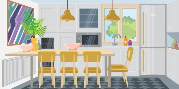 Moderne gezellige keuken gecombineerd met eetkamer