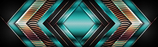 Moderne glanzende groene geometrisch met de gouden achtergrond van de overlappings geweven laag